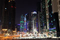 Street downtown in doha at night qatar middle east Stock Image