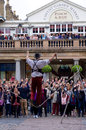 Street entertainer in covent garden london tightrope Stock Images