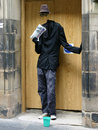 Street entertainer invisible man at the edinburgh festival Royalty Free Stock Photo