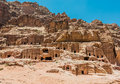 Street of facades in nabatean city of petra jordan middle east Royalty Free Stock Photos