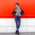 Street fashion concept - pretty young slim woman Royalty Free Stock Photo