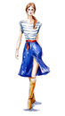 Street fashion. fashion illustration of a girl walking. Summer look. watercolor painting.