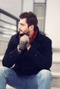 Street fashion handsome brunet man outdoors Stock Images