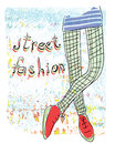 Street fashion vector illustration modern style fashionable shoes and pantyhose on watercolor background texture eps Royalty Free Stock Photography