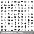 100 street festival icons set, simple style