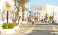 Street in Fira Santorini. Stock Photos