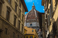 Street of Florence with Santa Maria del Fiore Cathedral Royalty Free Stock Photo
