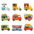 Street food festival color trailer vector restaurant car.