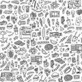 Street food festival hand drawn doodles seamless pattern. Monochrome background