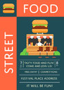 Street food festival invitation with burger cafe