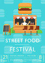Street food festival invitation in flat style