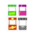 Street food kiosk cart stalls icon set Royalty Free Stock Images