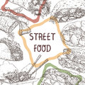 Street food template with sketches of traditional dishes.