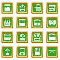 Street food truck icons set green