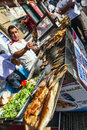 Street food: turkish kitchen fish bread Royalty Free Stock Images