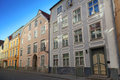 Street fragment of old tallinn with colorful buildings facades Royalty Free Stock Images