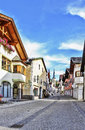 Street in garmisch partenkirchen germany with typical houses Stock Photography