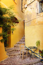 Street in greek town chania crete greece Stock Photos