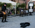 Street guitarist performing on gdansk poland Stock Photography