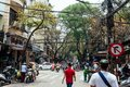 Street of Hanoi with buildings, trees, vehicles, and mess electric cables with people walking in Vietnam Royalty Free Stock Photo