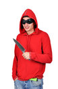 Street hoodlum with a knife in his hand Royalty Free Stock Image