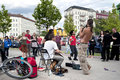 Street jazz band and people dancing in berlin germany Royalty Free Stock Images