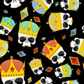 Street Kings. Gold Crown skull seamless pattern Royalty Free Stock Photo
