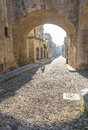 Street of the knights in Rhodes, Greece Royalty Free Stock Photo