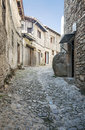Street of la alberca spanish village is a cobbled with houses on either side is a vertical picture on a sunny day Stock Images