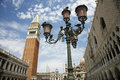 Street Lamp and Bell Tower at St Mark's Basilica Stock Images