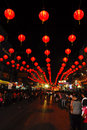 Street lamp with the crowd in chinese new year Stock Images