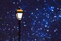 Street lamp night sky stars against Royalty Free Stock Image