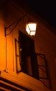 Street lamp in night and window the of timisoara romania Stock Image