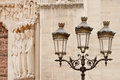 Street lamp by Notre Dame cathedral Royalty Free Stock Photo
