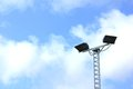 Street lamps in blue sky background four Stock Images