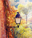 Street lantern with flowers deia mallorca balearic island spain Royalty Free Stock Photos