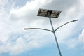 Street light poles lampposts with solar energy sources Royalty Free Stock Photography