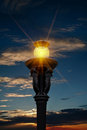 Street light and sunset Stock Photography