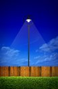Street lighting with shrub and wooden fence Stock Photography