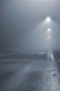 Street Lights, Foggy Misty Nig...