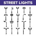 Street Lights Linear Vector Thin Icons Set