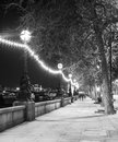 Street in london night at black and white color britain Stock Photography