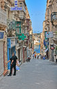 Street in malta valletta september typical the is a southern european country the mediterranean sea km mi south of Stock Image