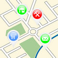 Street map with pointers Royalty Free Stock Photo