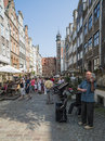 Street mariacka gdañsk poland europe vertical view of famous in Stock Images