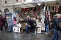 Street market in florence view of typical the center of italy Royalty Free Stock Photos
