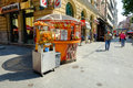Street market in sarajevo seller of fruit and juice the center of bosnia and herzegovina Royalty Free Stock Photography