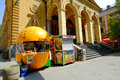 Street market in sarajevo seller of fruit and juice the center of bosnia and herzegovina Royalty Free Stock Images