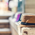 Street market selling italian hats in rome shallow depth of field Royalty Free Stock Photo