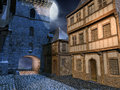 Street in a medieval town at night Stock Image